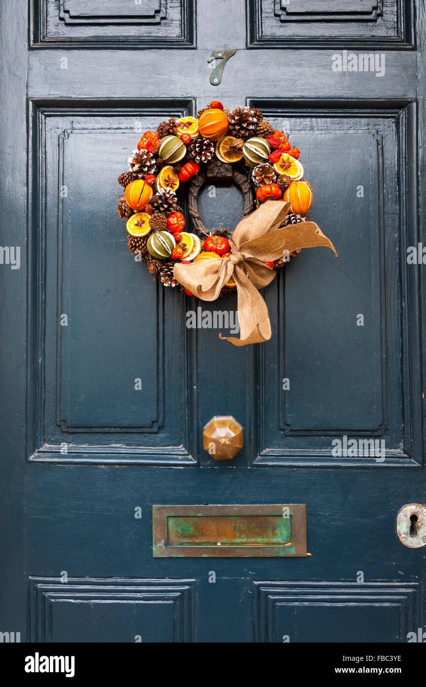 Christmas Wreath On Front Door Hanging