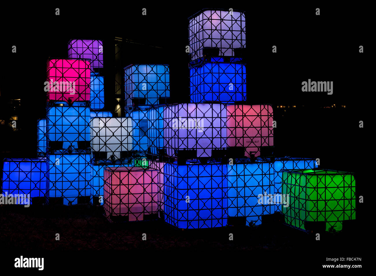 Art display LED cube lights at night-Victoria, British Columbia, Canada. - Stock Image