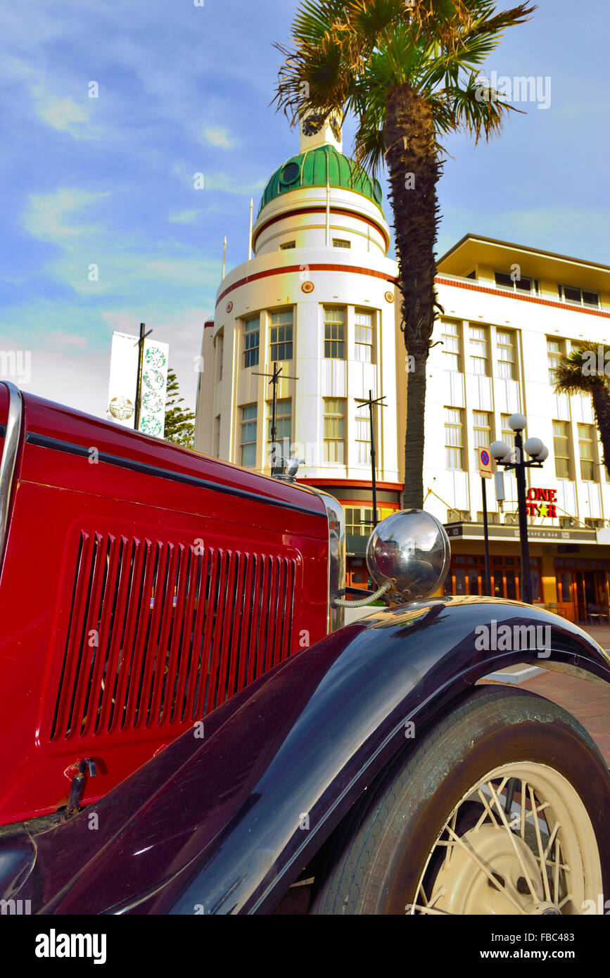 'Poster type' image of Governor's Old Residence in central Napier in the Art Deco area of the town with - Stock Image