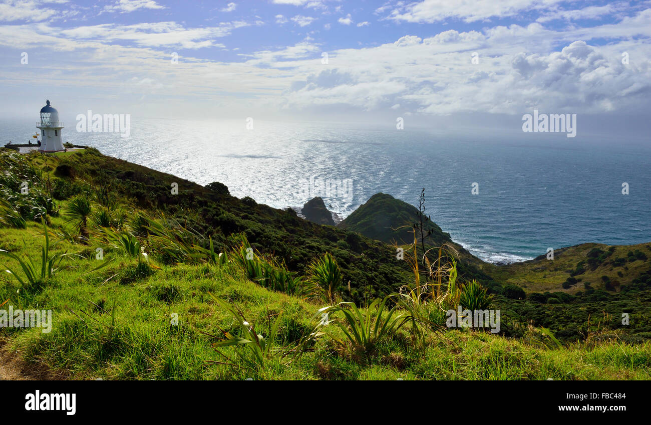 Cape Reinga/Te Rerenga Wairua,  light house at the  northern tip of New Zealand - Stock Image