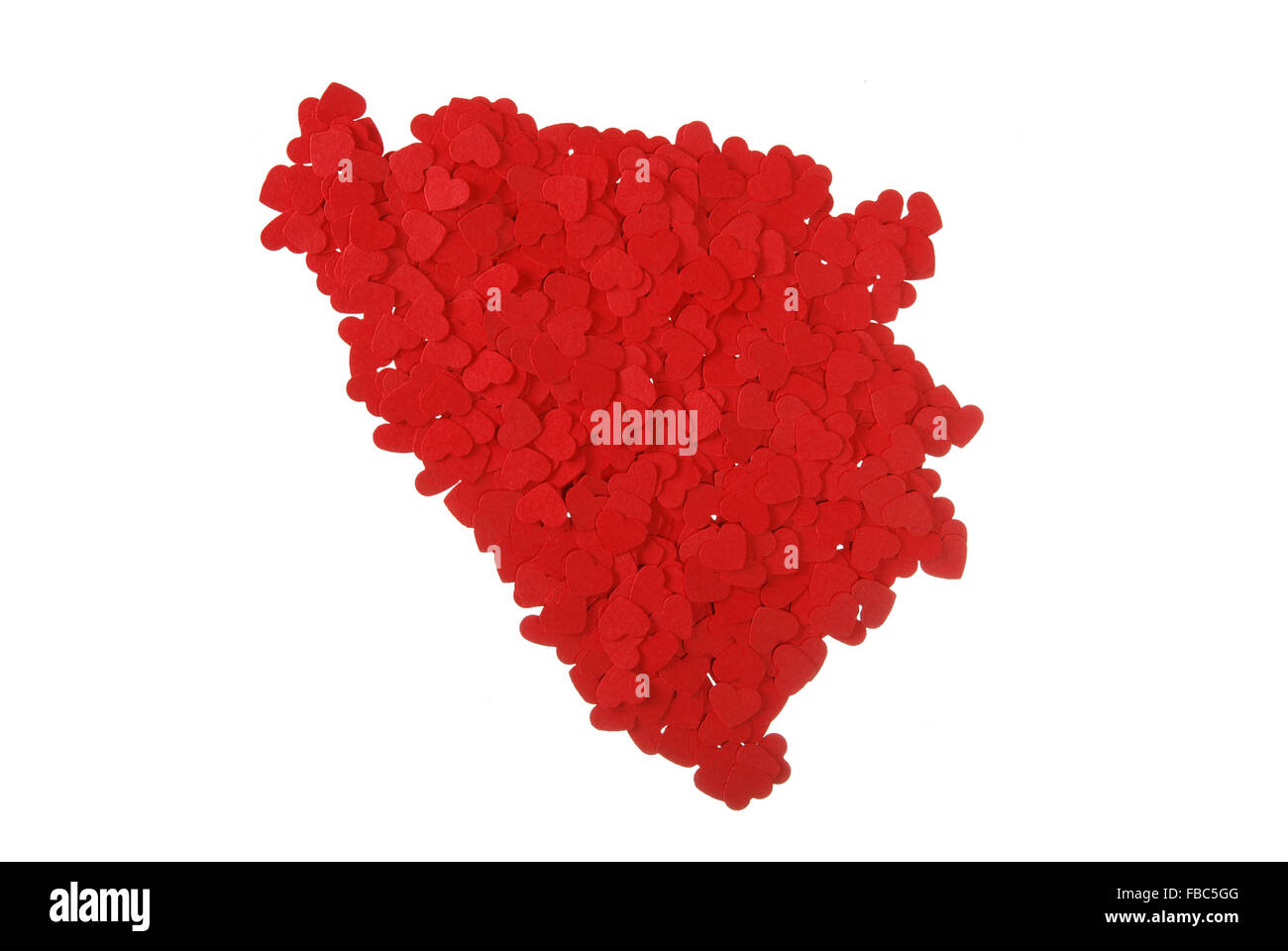 contour of the Bosnia and Herzegovina built of small red hearts on a white background - Stock Image