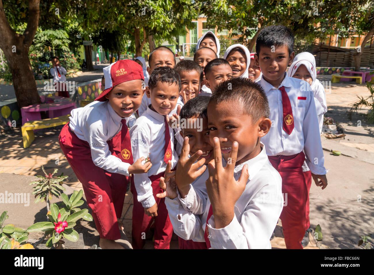 school children in Ende, Flores, Indonesia, Asia - Stock Image