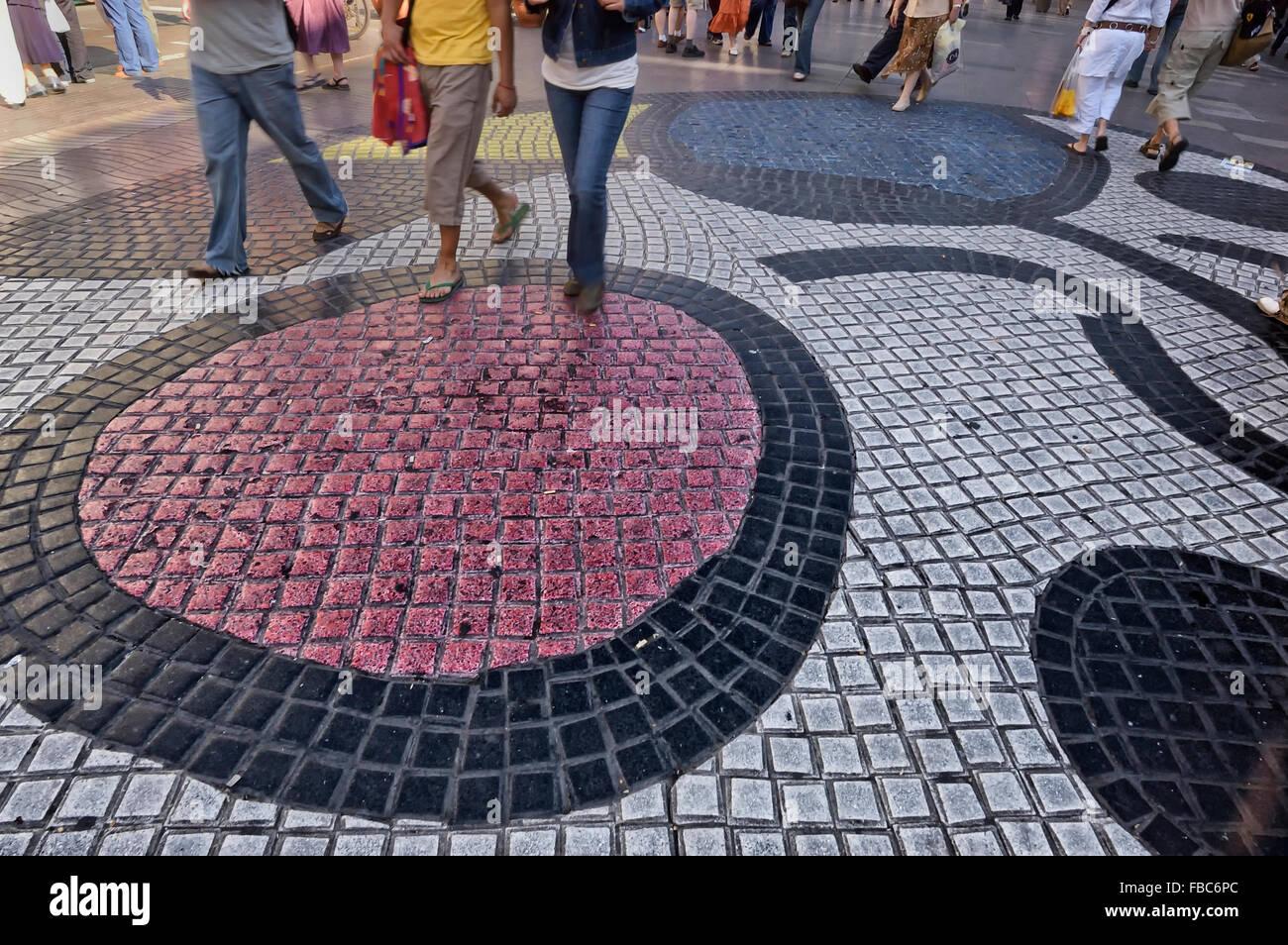 Pavement Mosaic By Joan Miro On La Rambla Barcelona Catalan Spain