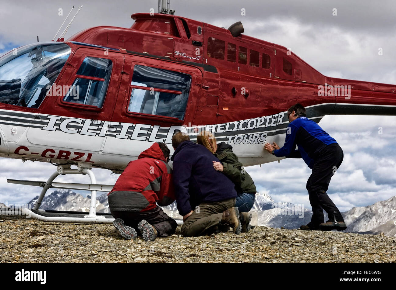 Heli-hiking at the Canadian Rockies. Canada. - Stock Image