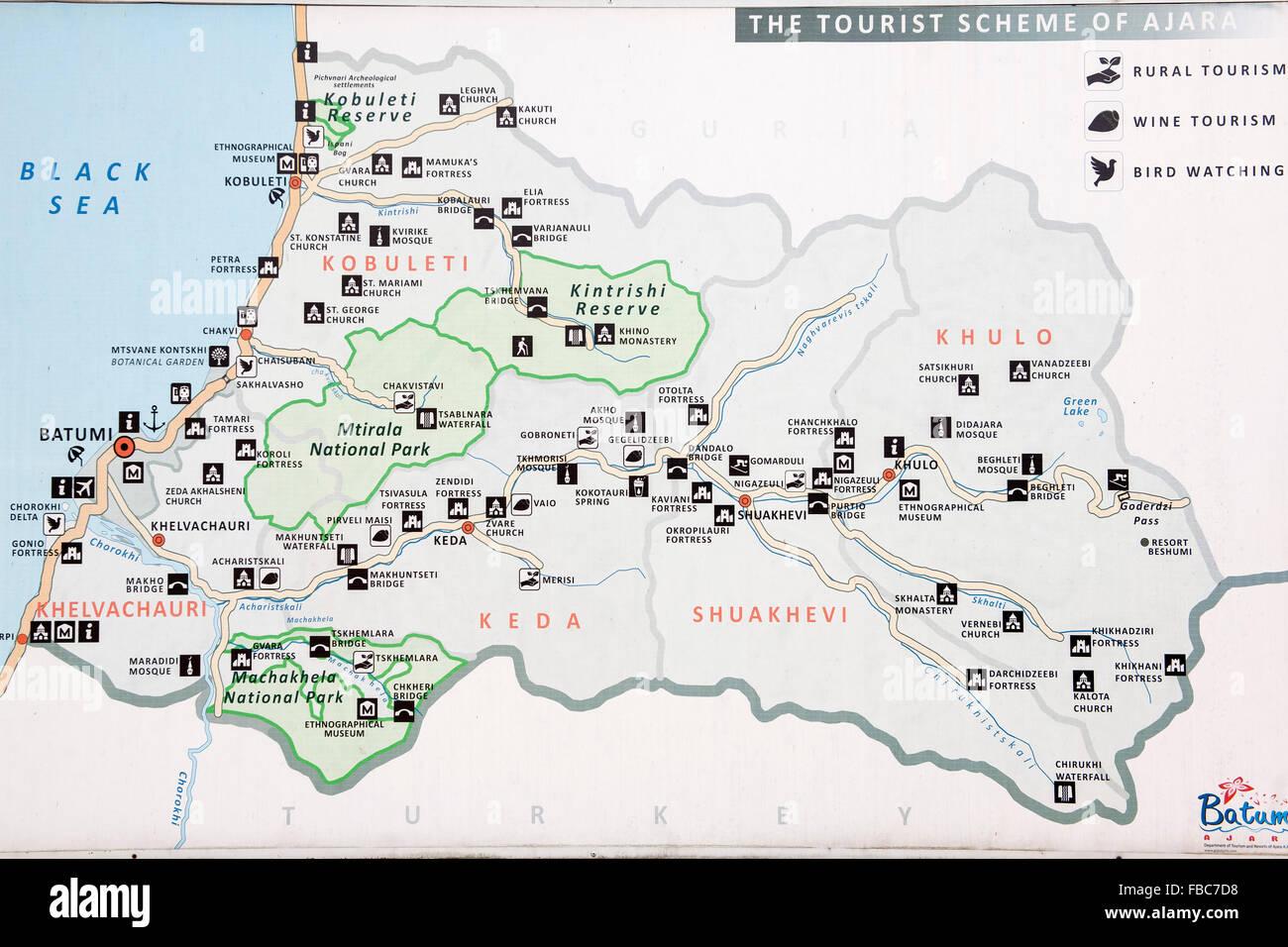 Georgien, Adscharien, touristische Landkarte - Stock Image