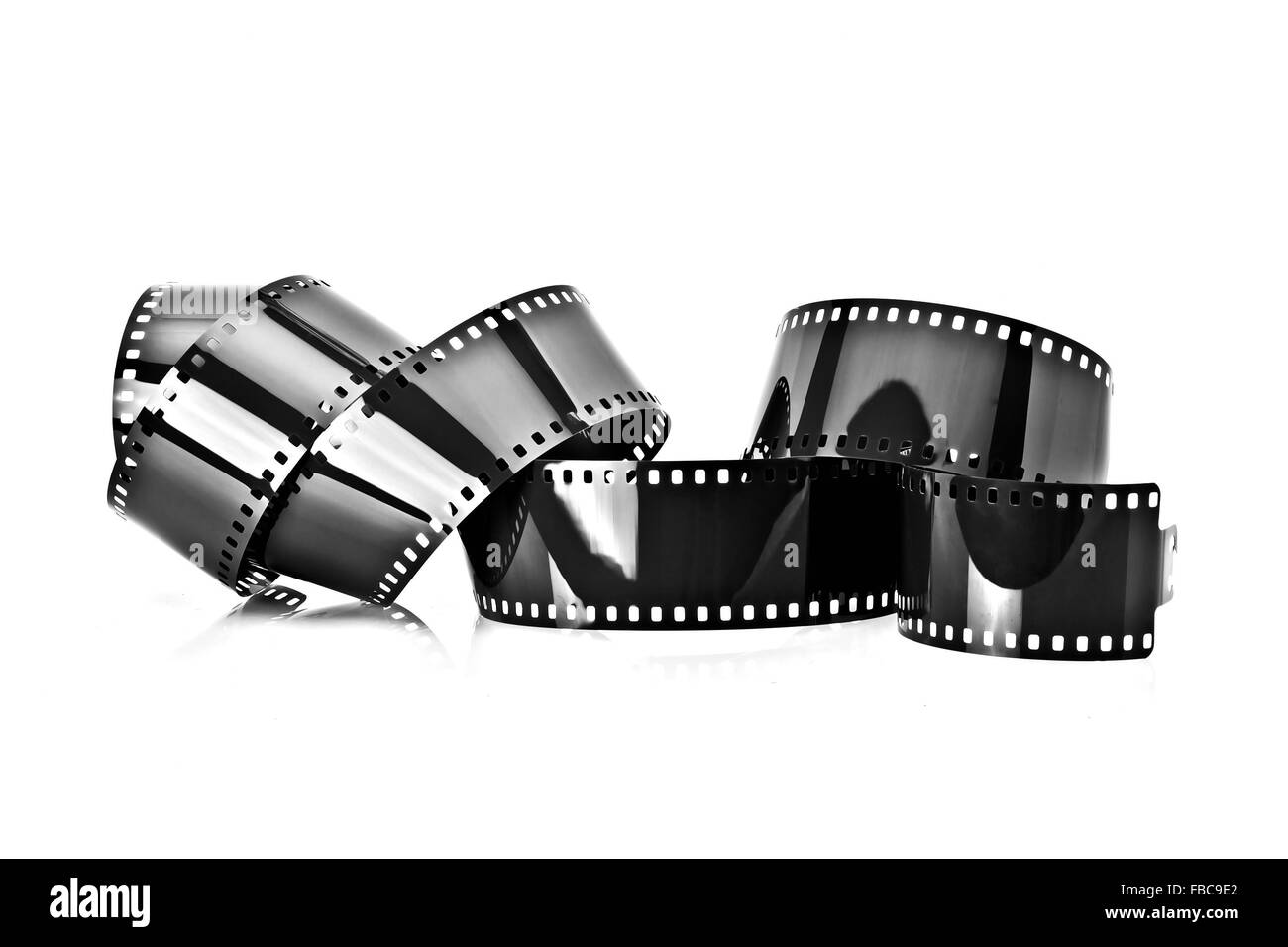 35mm film strip isolated on white background - Stock Image