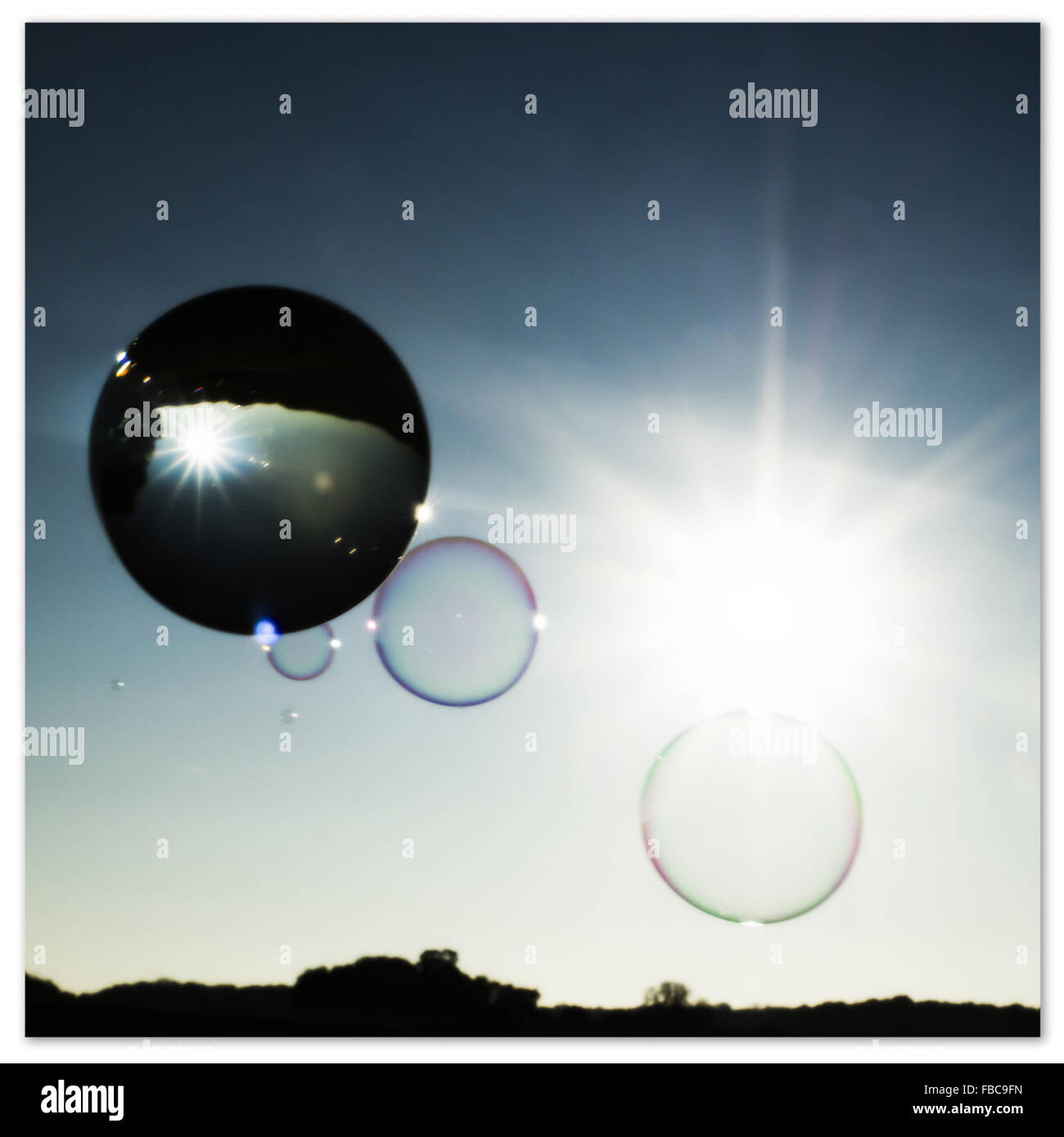 crystal ball and bubbles - Stock Image
