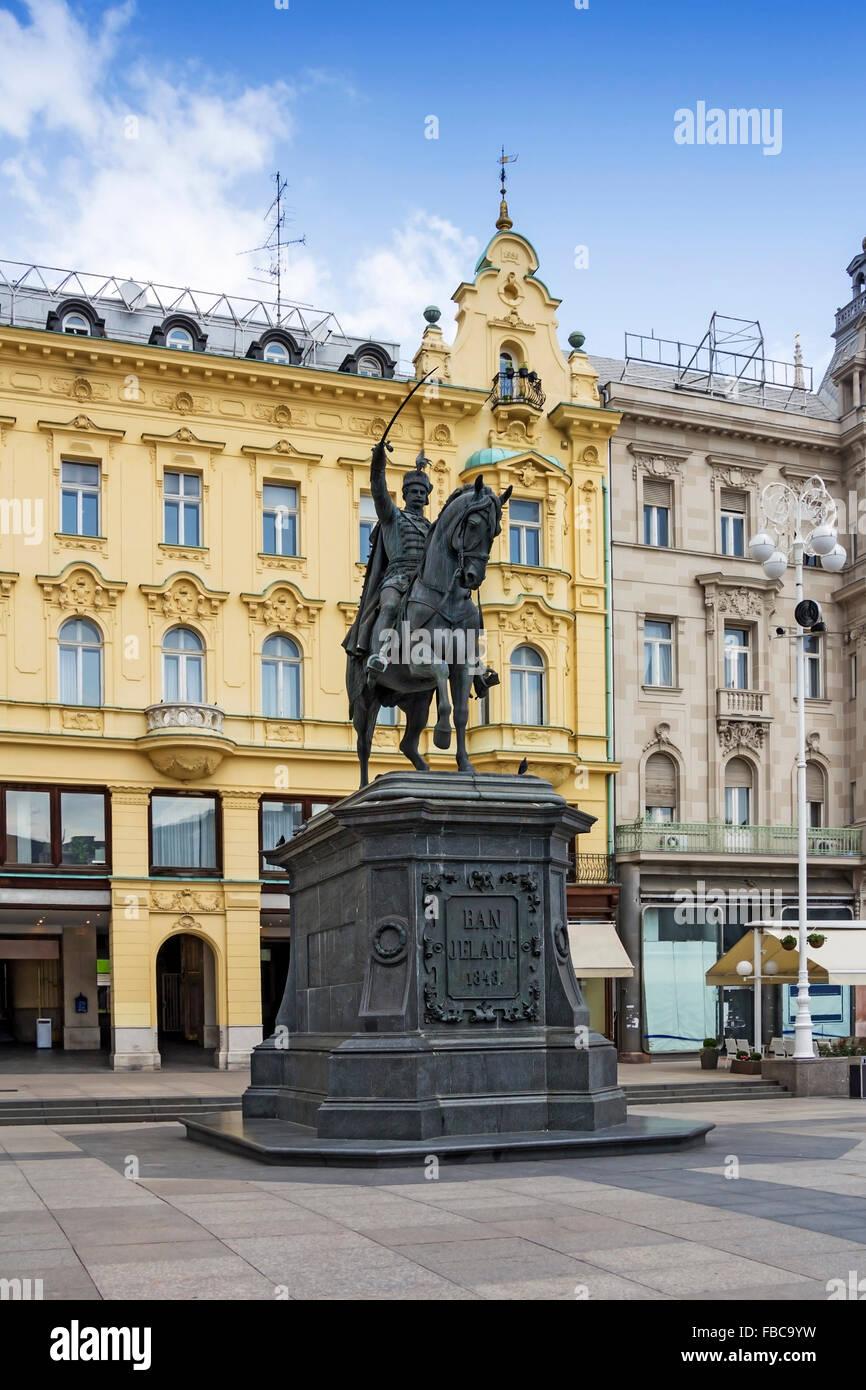 Monument of Ban Jelacic on central square in Zagreb, Croatia - Stock Image