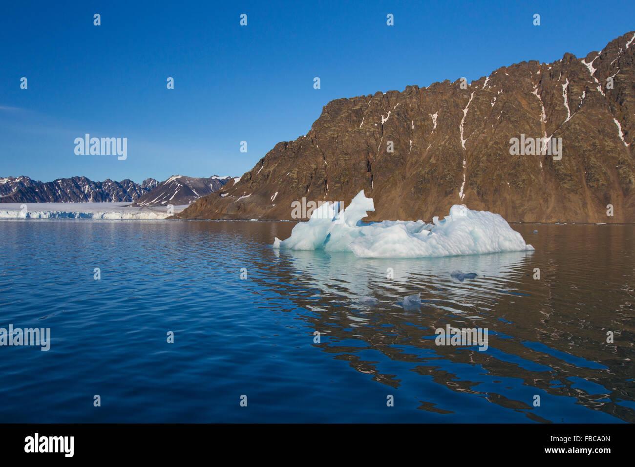 Calved iceberg from Lilliehöökbreen glacier melting in Lilliehöökfjorden, fjord branch of Krossfjorden, - Stock Image