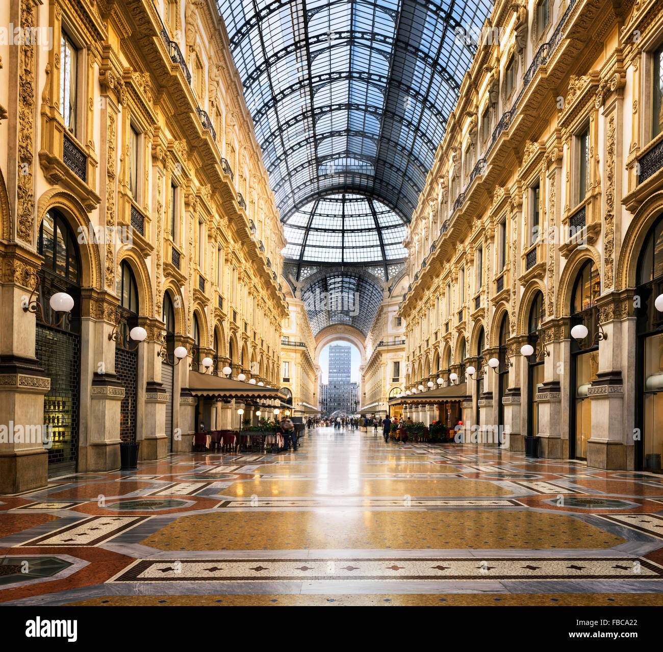 Glass dome of Galleria Vittorio Emanuele in Milan, Italy - Stock Image