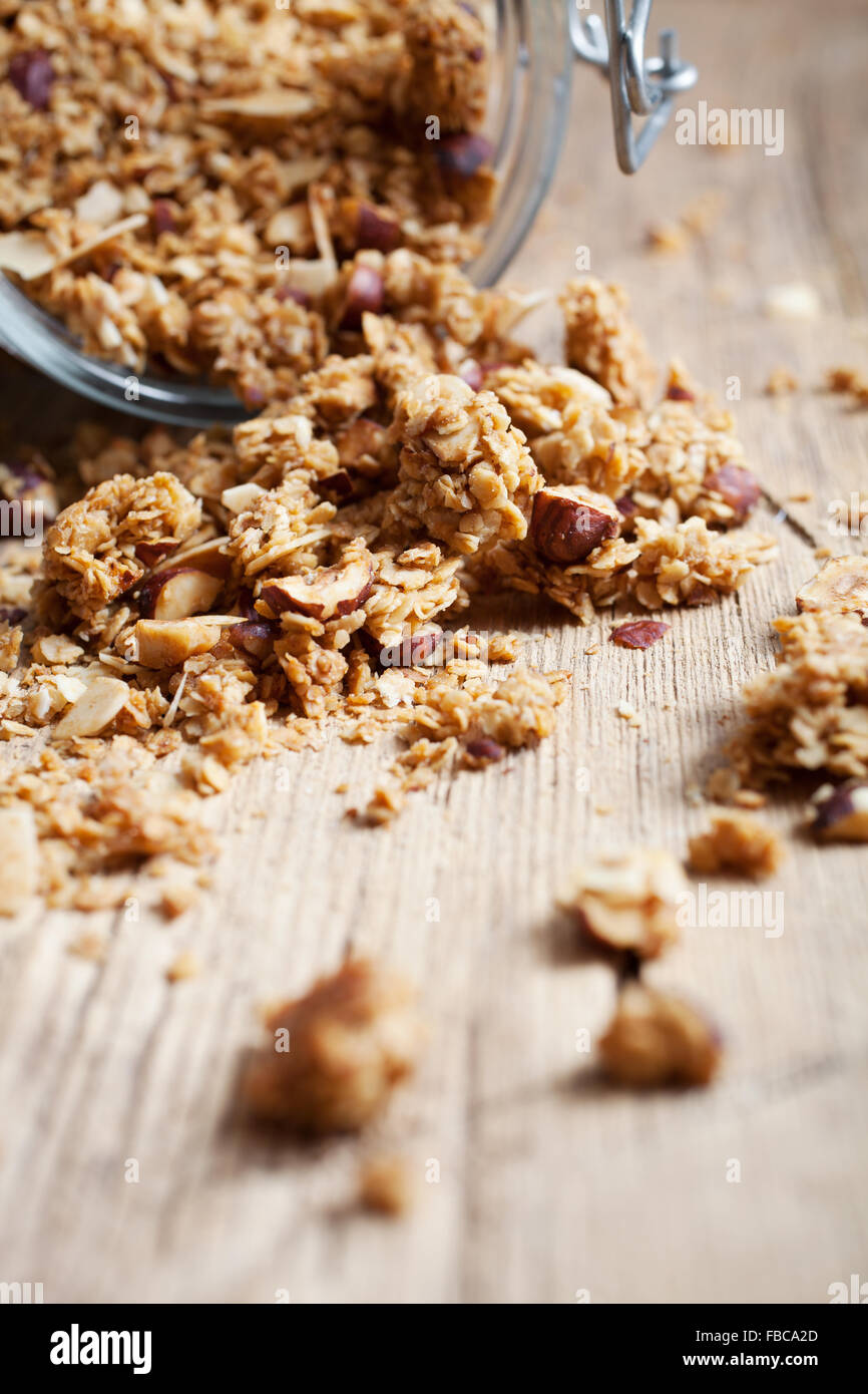 Homemade granola with hazelnuts and almonds - Stock Image
