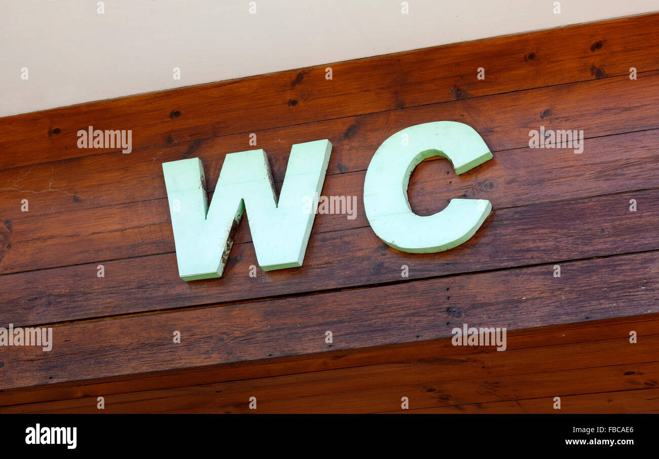 Letter WC on wooden planks - Stock Image