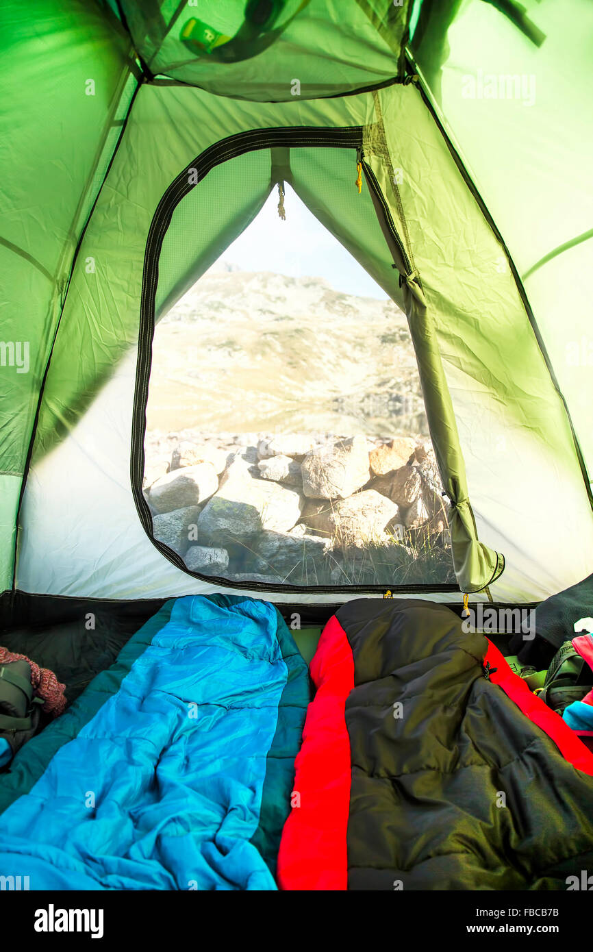 Mountain Camping Tent View From The Inside With Sleeping Bags