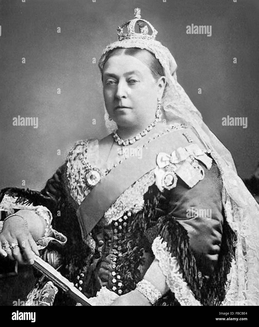 Queen Victoria. Alexander Bassano's photograph of Queen Victoria used to commemorate her Golden Jubilee in 1887 - Stock Image