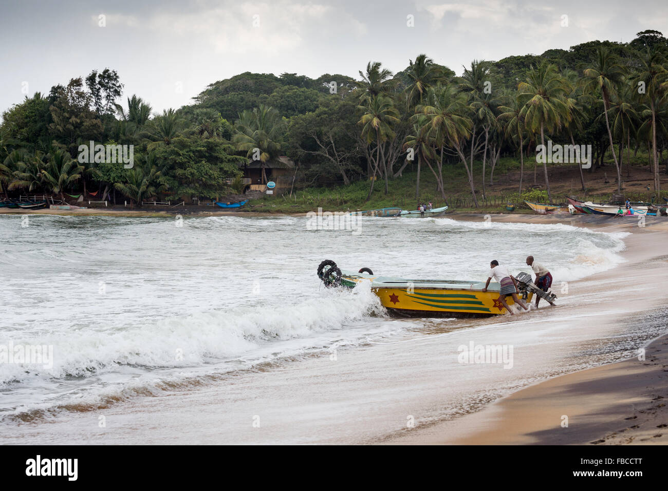 Fishermen on a beach, Arugam Bay, Sri Lanka, Asia Stock Photo