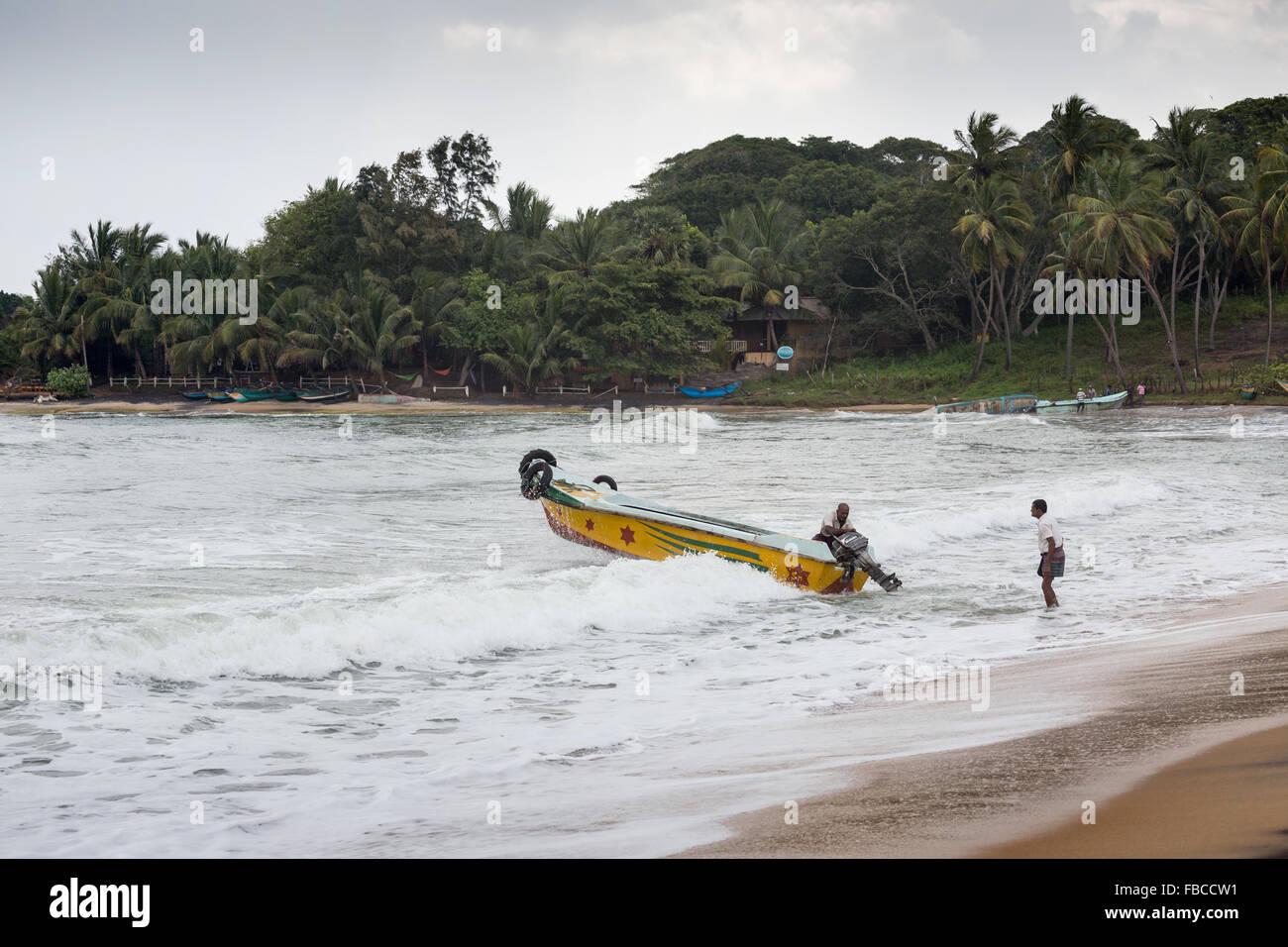 Fishermen on a beach, Arugam Bay, Sri Lanka, Asia Stock Photo