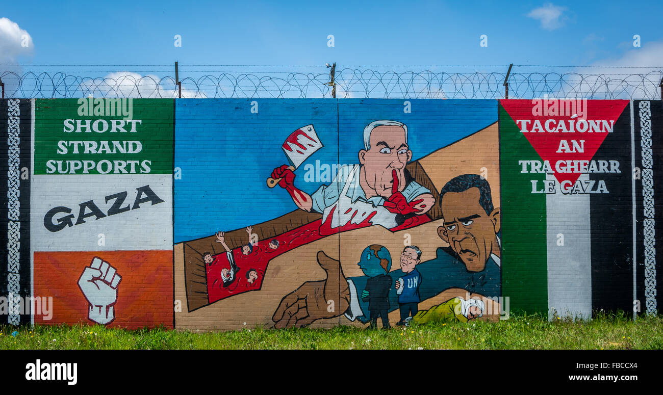 Short Strand area of Belfast supporting Palestine & Gaza mural. - Stock Image