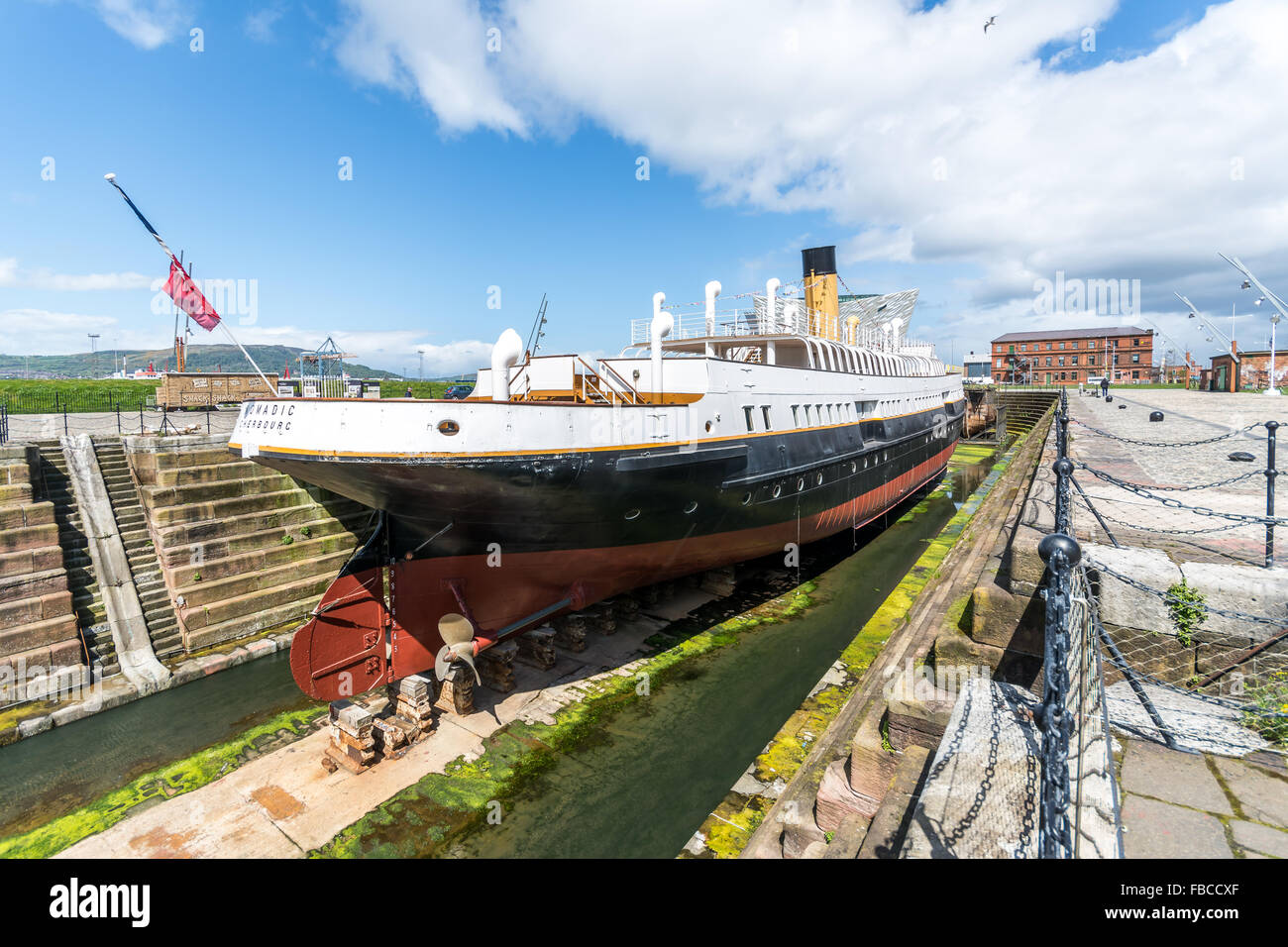 SS Nomadic sits in its final resting place in Belfast's Titanic Quarter. - Stock Image