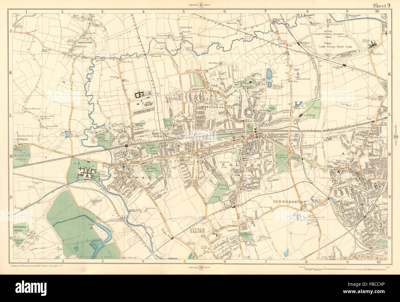 EALING ACTON Greenford Hanwell Gunnersbury Perivale Hanger Lane BACON 1903 Map