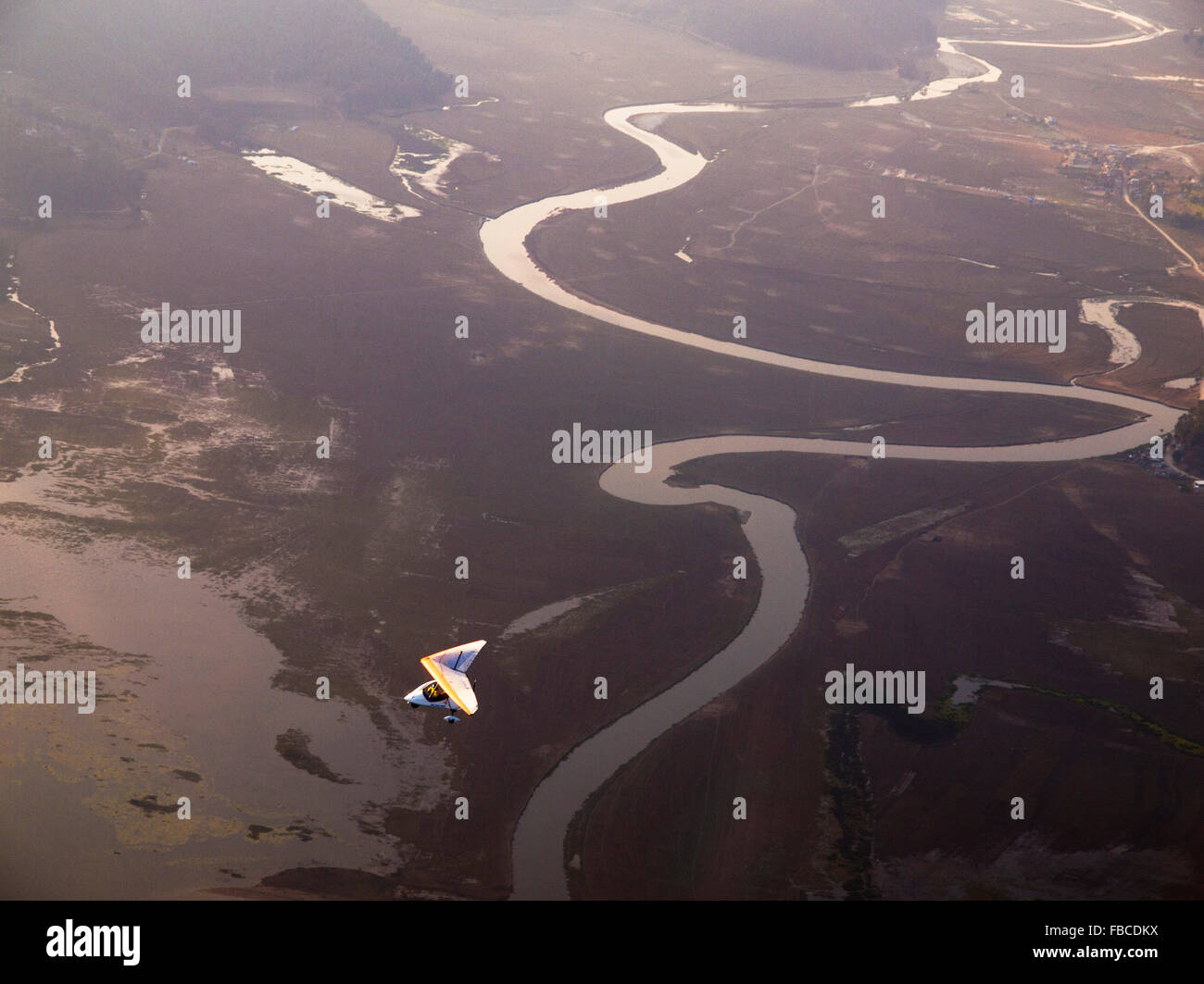 Scenic flight river view Pokhara Nepal - Stock Image