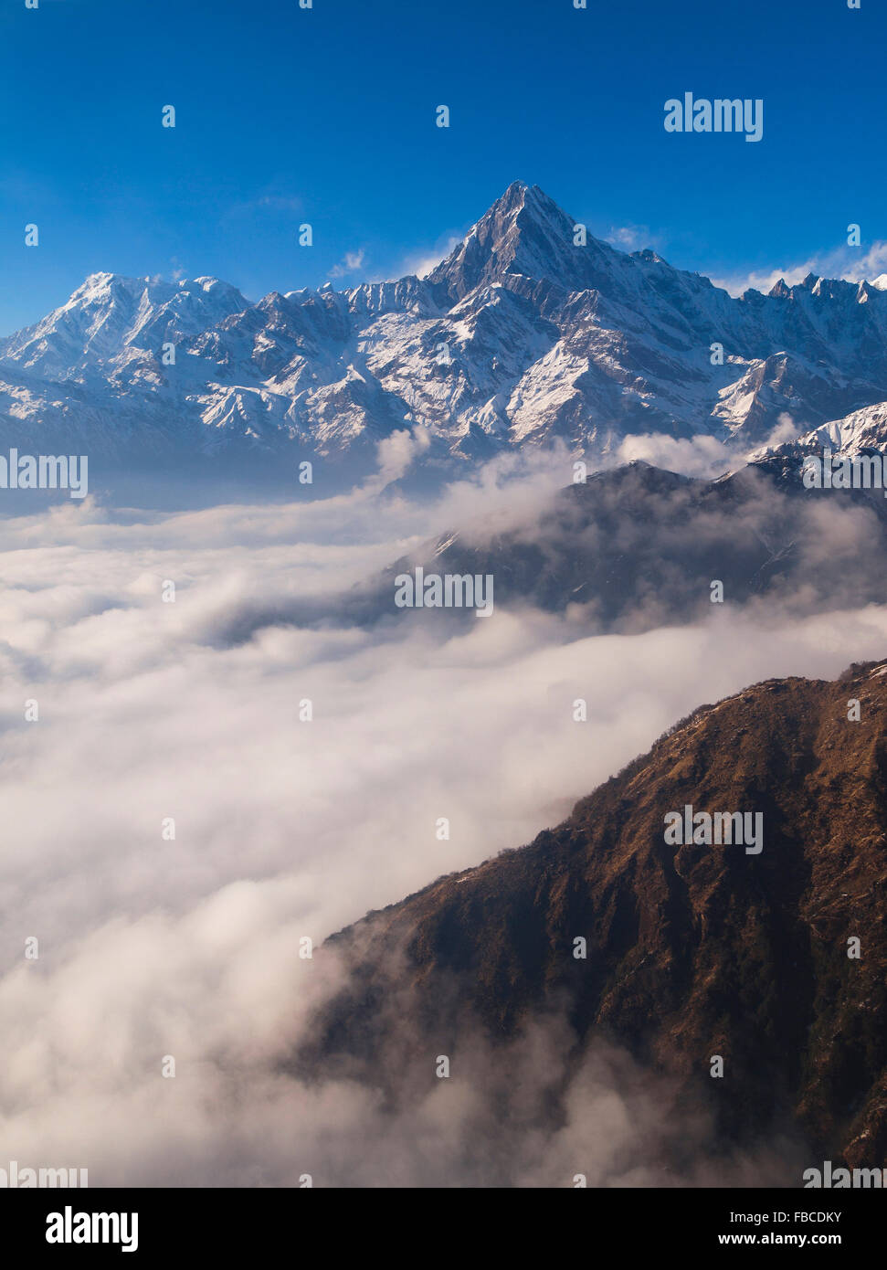 Aerial view of foothills and mountains in Annapurna Region Nepal - Stock Image