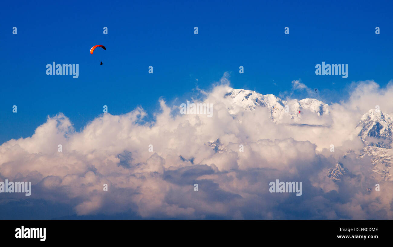 Paragliding Annapurna region himalaya - Stock Image