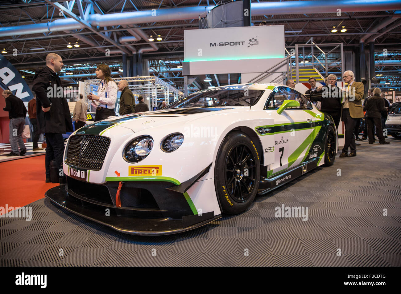 Birmingham, UK. 14th Jan, 2016. The Bentley Continental GT3 Race Car On The  M Sport Stand Credit: Steven Roe/Alamy Live News