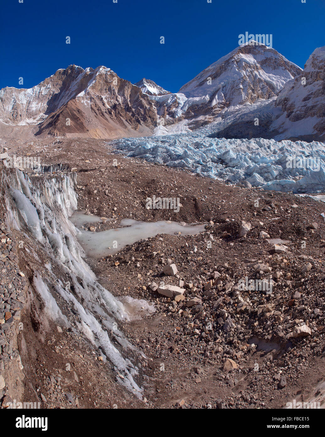 Everest base camp glacier - Stock Image