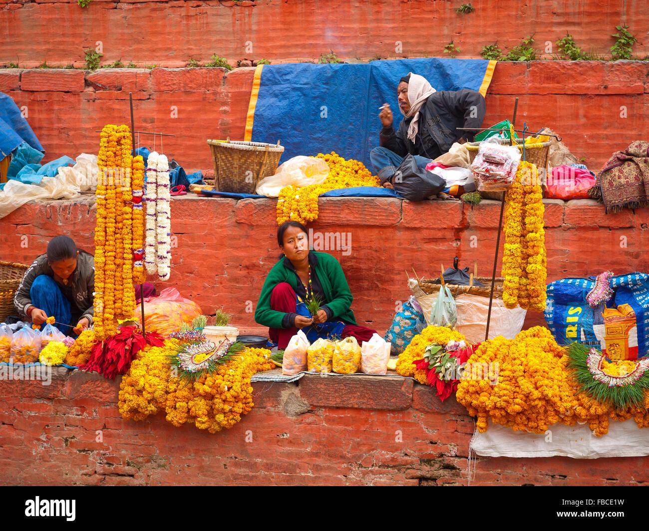 Flower seller, Kathmandu Nepal - Stock Image
