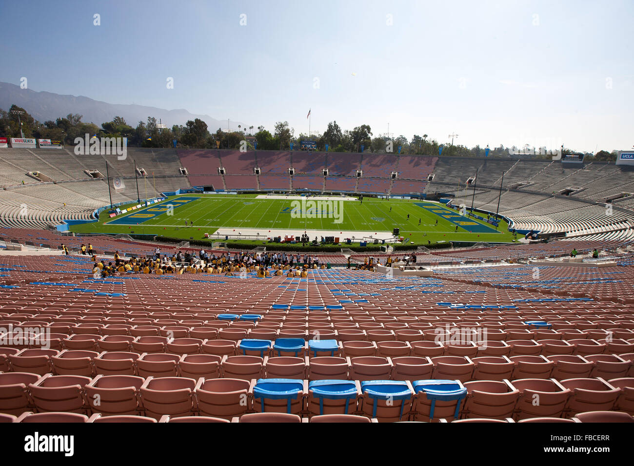 General view of the stands at the Rose Bowl before the game between the UCLA Bruins and the Virginia Cavaliers on - Stock Image