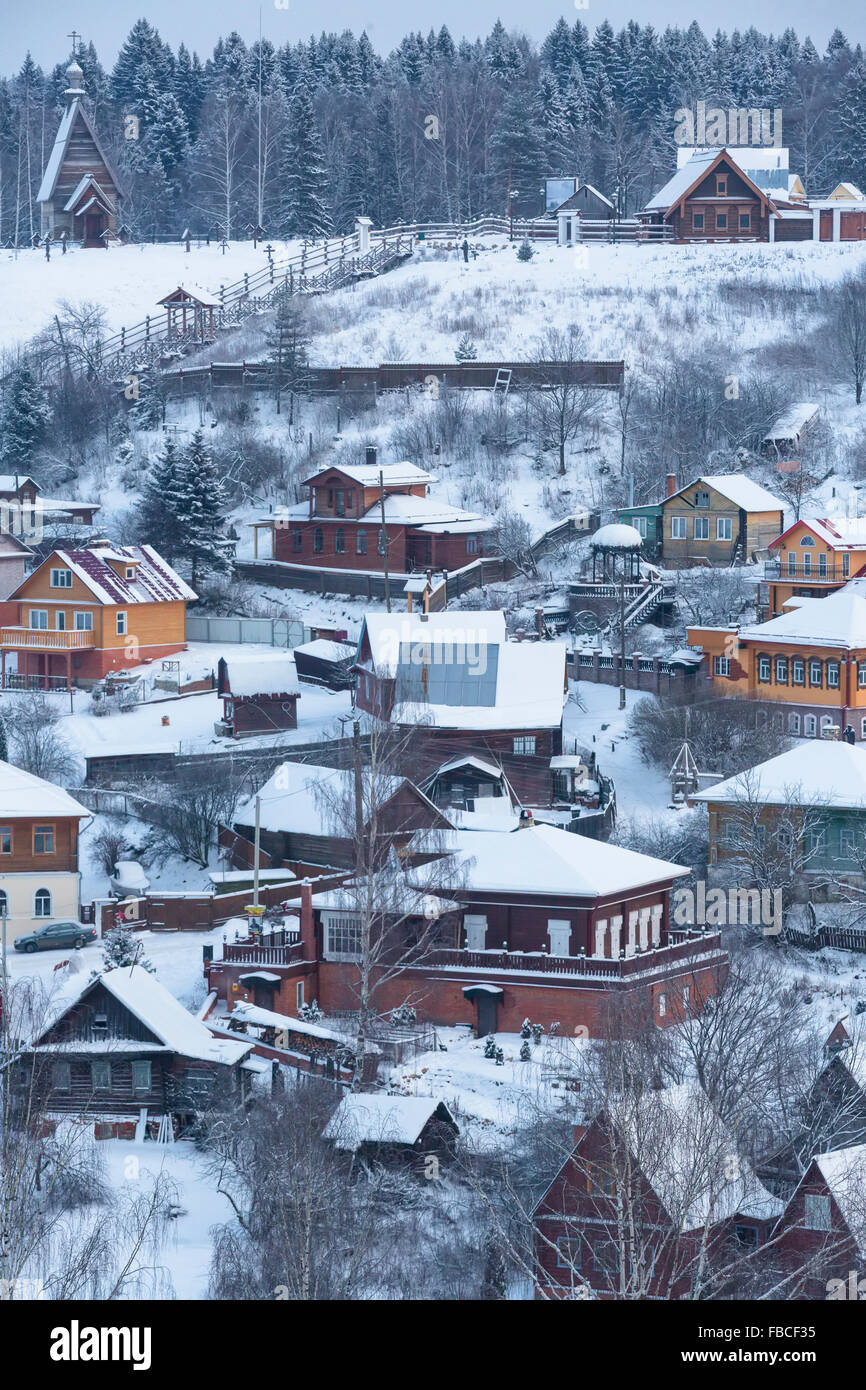 View from Cathedral Mountain of the Ples ancient Russian town in Ivanovo region on the banks of the river Volga, Stock Photo