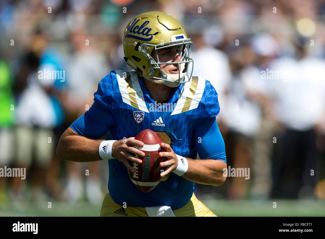 Quarterback Josh Rosen #3 of the UCLA Bruins stands in the pocket against the Virginia Cavaliers during the third - Stock Image