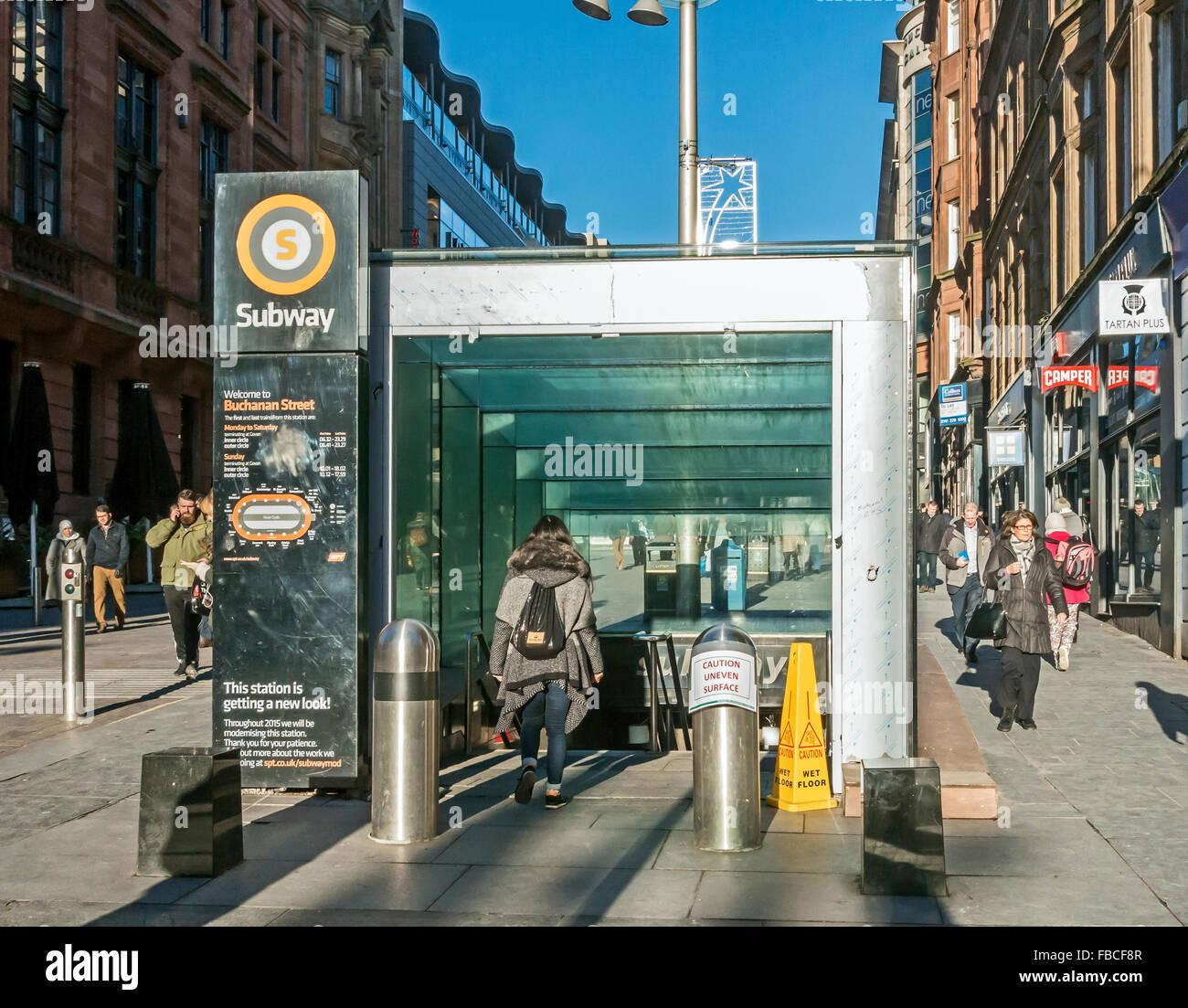 New glass entrance to Glasgow Subway in Buchanan Street Glasgow Scotland - Stock Image