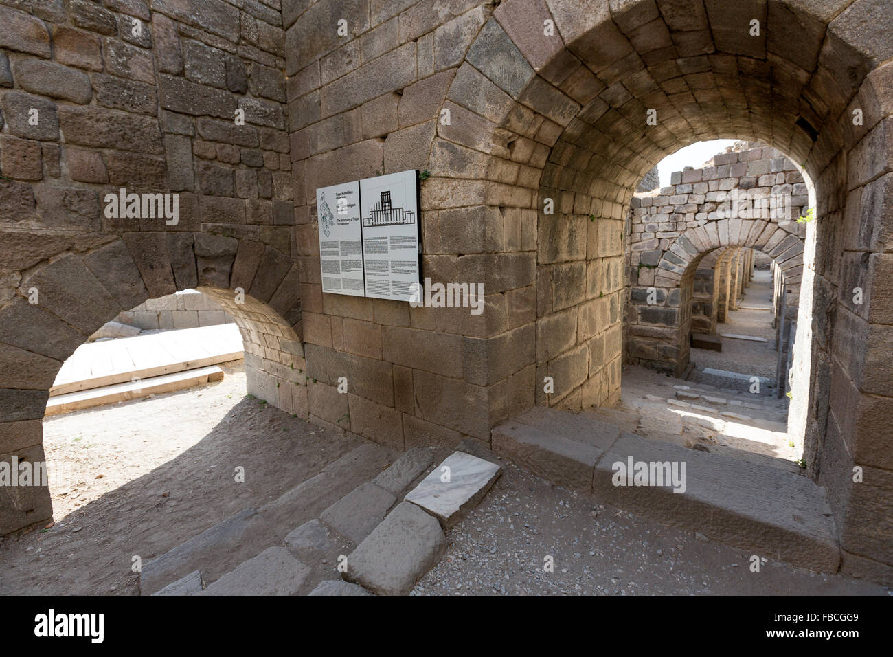 The Sanctuary of Trajan, The Substructure at Pergamon Pergamon Acropolis, an ancient Greek city actually in Bergama, - Stock Image
