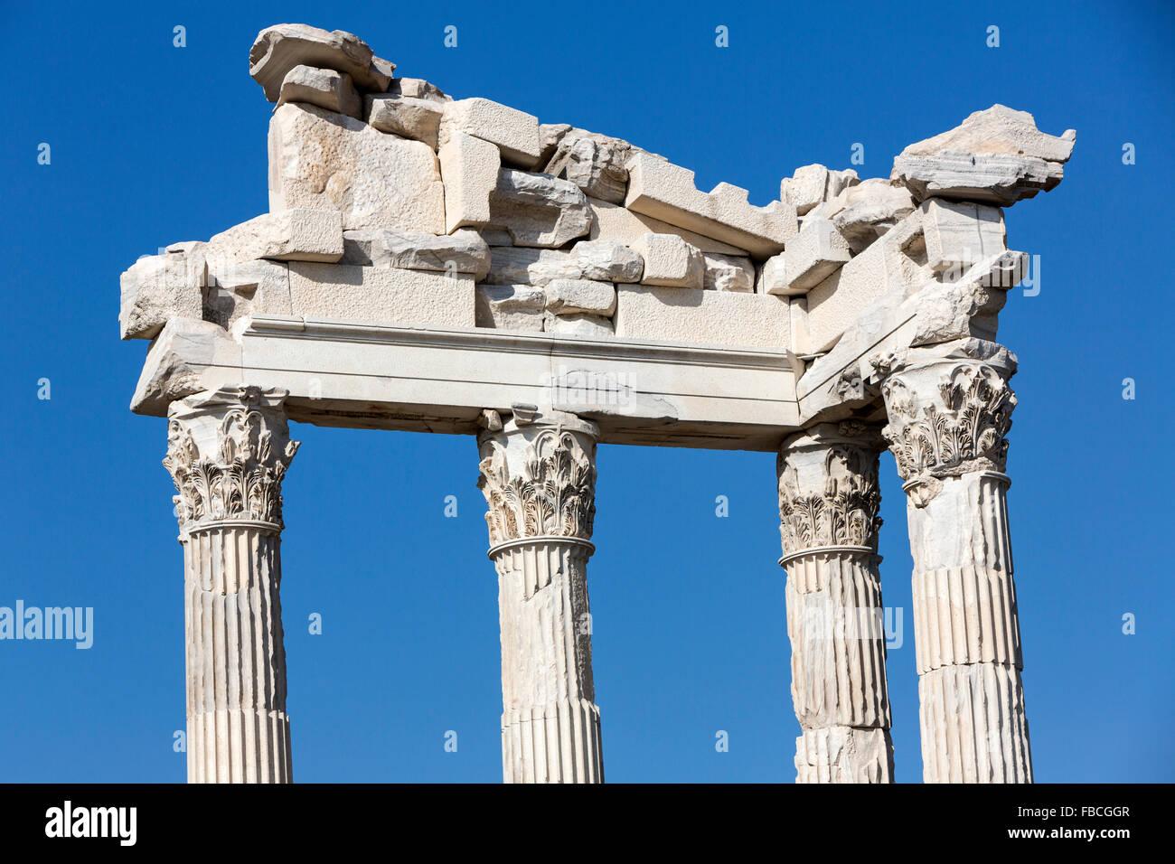 Trajan Temple Corinthian columns at Pergamon  Acropolis, an ancient Greek city actually in Bergama, - Stock Image