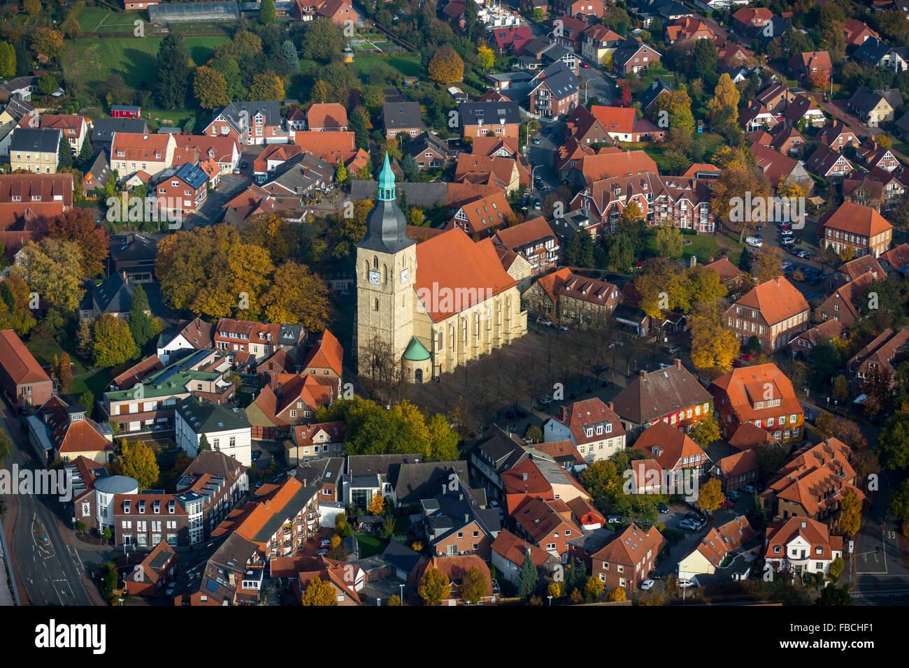 Aerial view, city center, St. Martinus Church Nottuln, red tile roofs, Nottuln, Münsterland, North Rhine-Westphalia, - Stock Image
