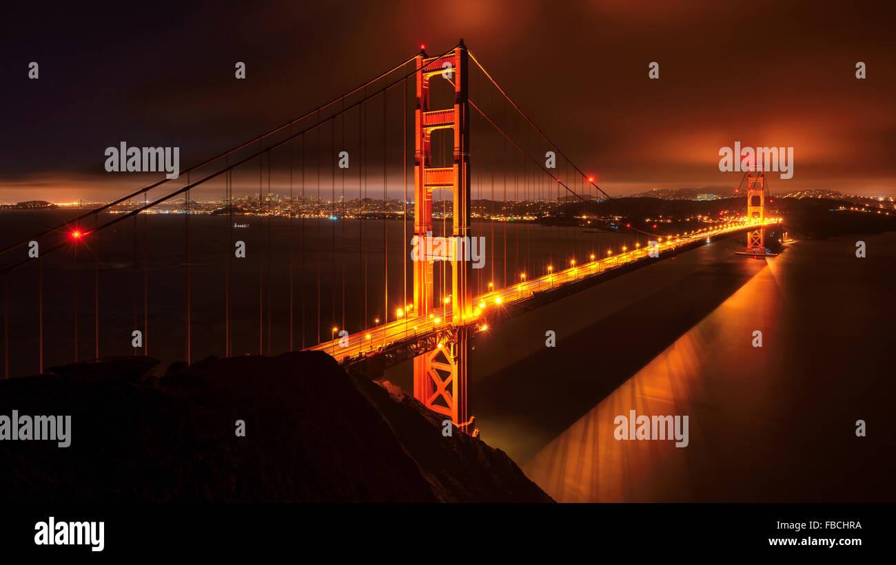 Night at beautiful Golden Gate Bridge, San Francisco, USA - Stock Image