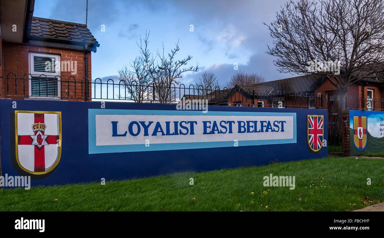 Loyalist East Belfast mural. - Stock Image