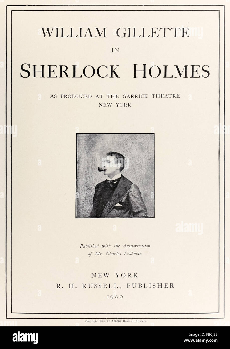 Title page from souvenir album for 'Sherlock Holmes' play adapted from storied by Sir Arthur Conan Doyle - Stock Image