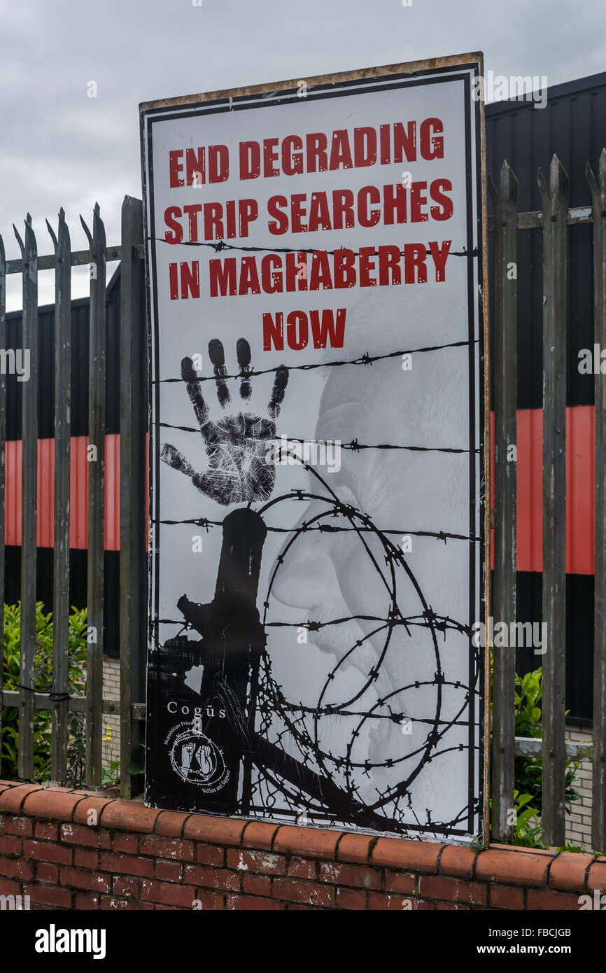 Irish Republican mural calling for an end to Strip Searches. - Stock Image