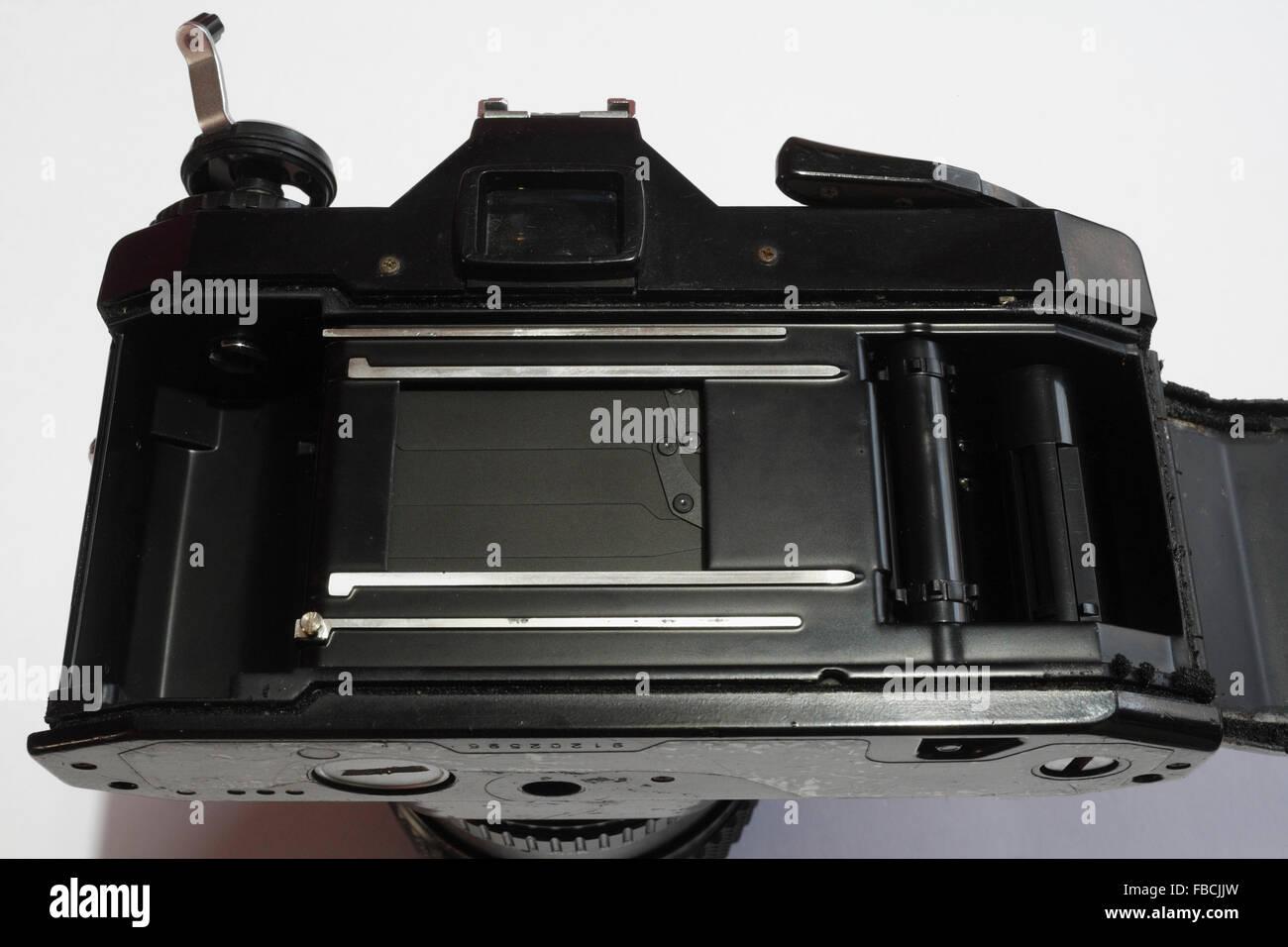 Film holder in a SLR camera - Stock Image