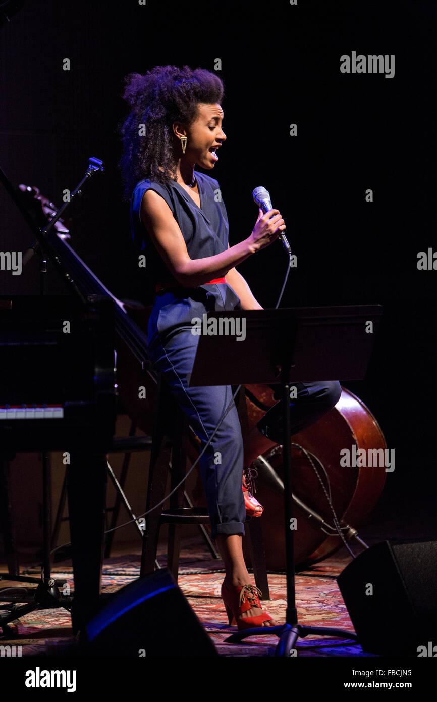 Esperanza Spalding on stage during concert Stock Photo