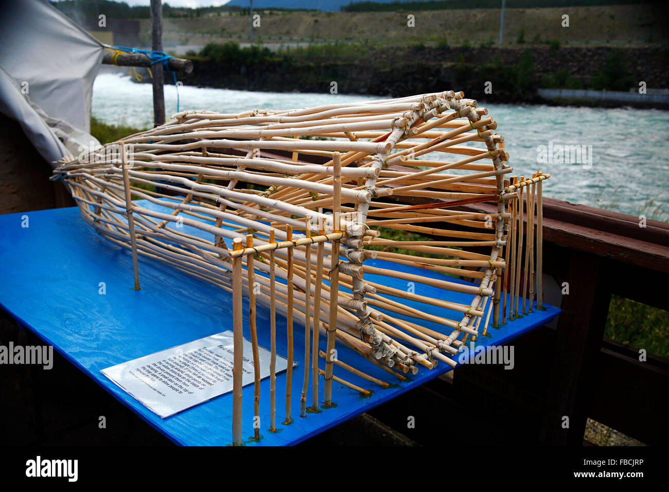 A first nation fish trap exhibit in Whitehorse Yukon Canada - Stock Image