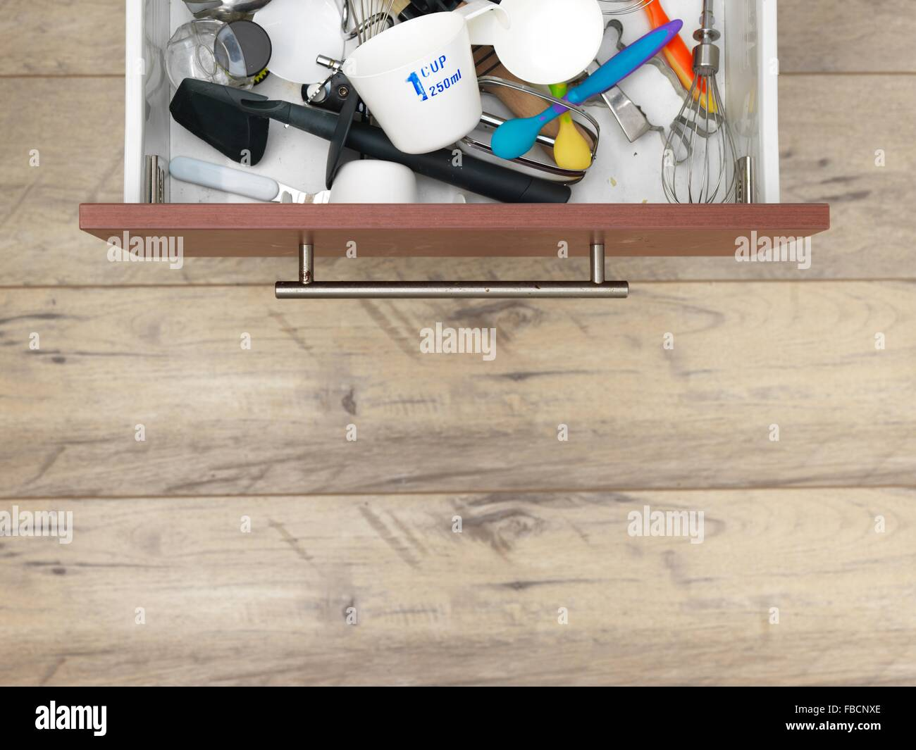 A studio photo of a kitchen drawer - Stock Image