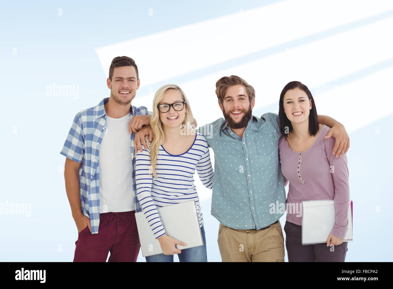 Composite image of portrait of smiling business people with arm around - Stock Image
