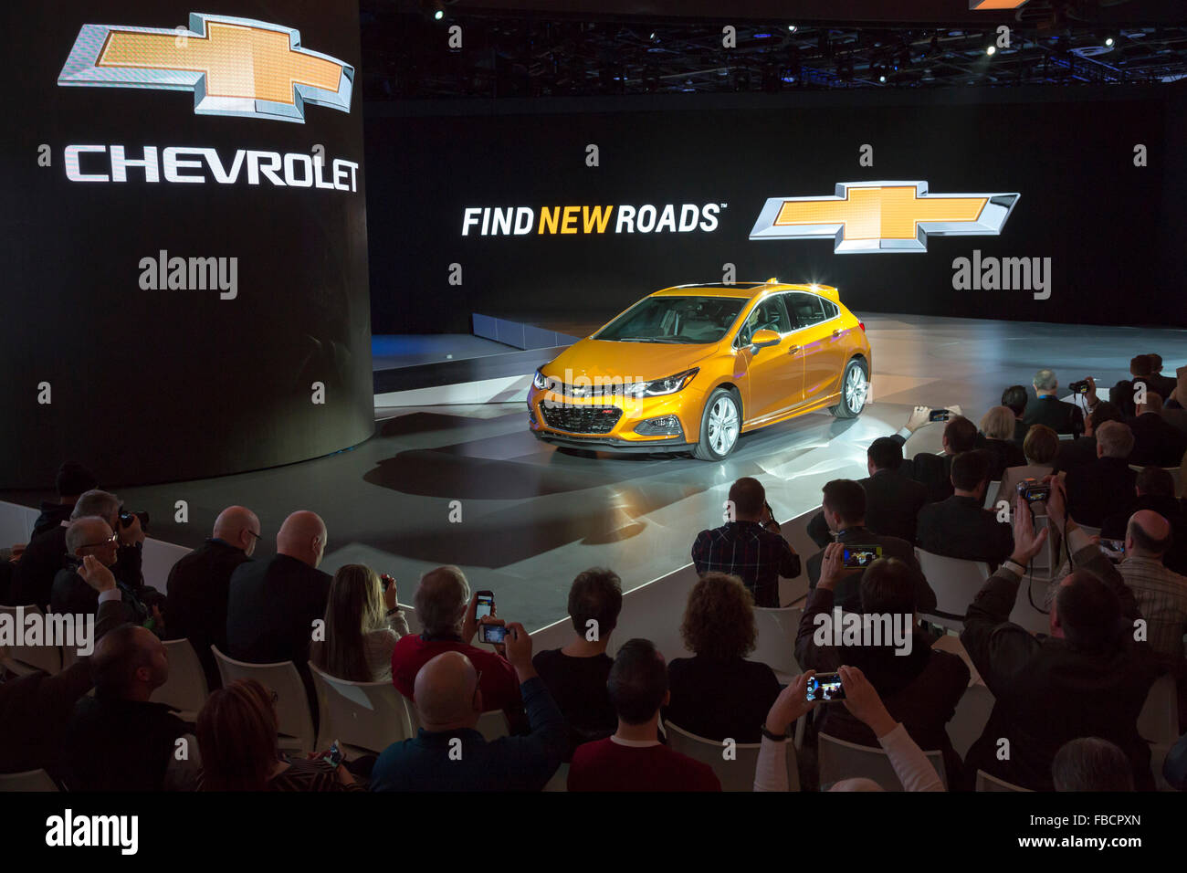 Detroit, Michigan - The Chevrolet Cruze hatchback is introduced at the North American International Auto Show. - Stock Image