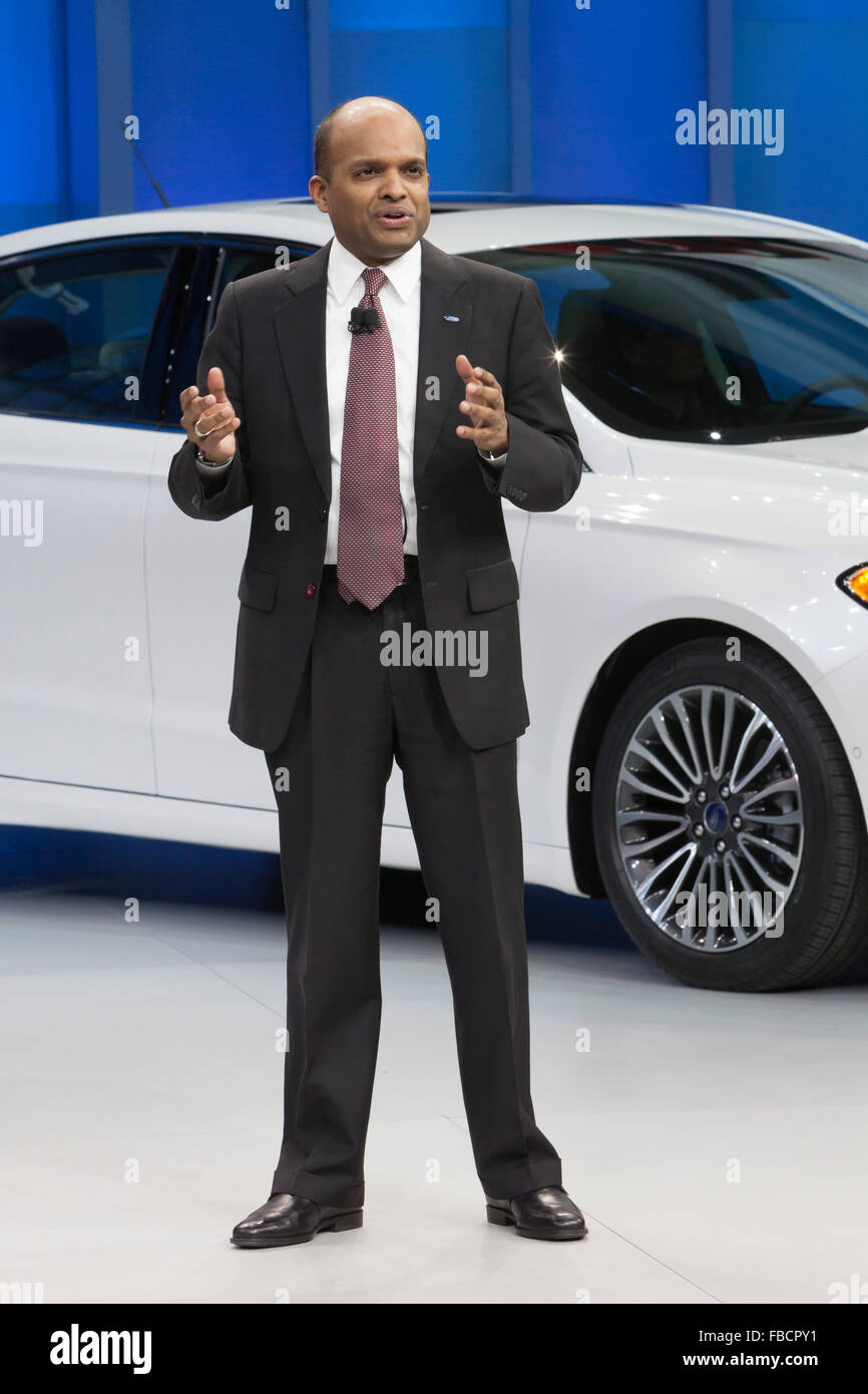 Detroit, Michigan - Ford Executive Vice President Raj Nair at the North American International Auto Show. - Stock Image