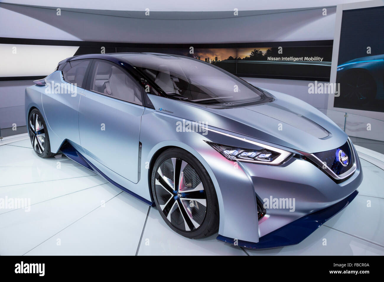 Detroit, Michigan - Nissan's IDS concept electric car on display at the North American International Auto Show. - Stock Image