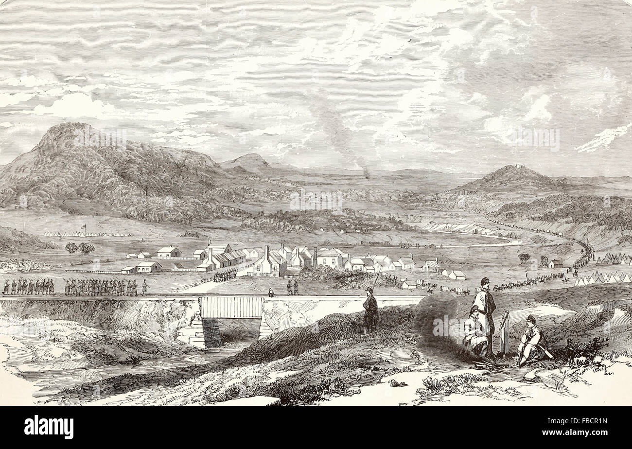 View of the town of Strasburg Valley of the Shenandoah, occupied by the Federal Forces under General Banks, March - Stock Image