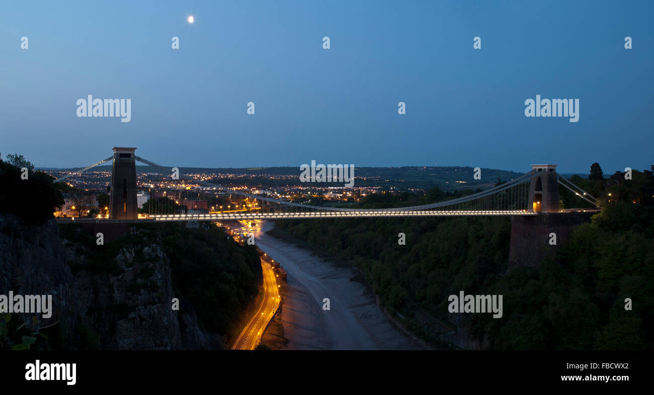Clifton suspension bridge by moon light - Stock Image